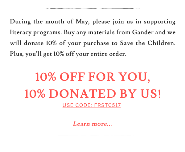 10% off for you, 10% dontaed by us!